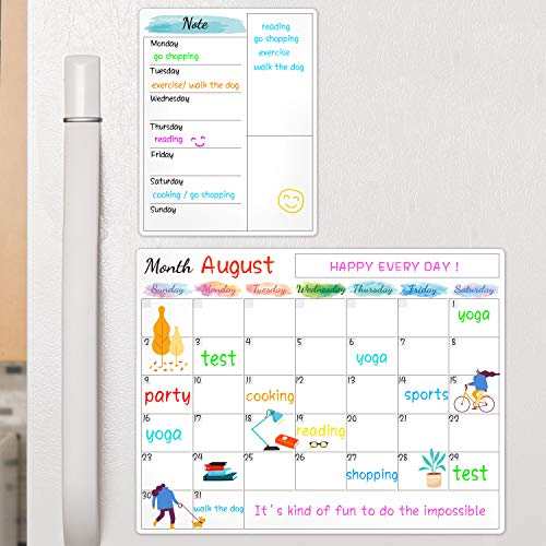 Dry Erase Fridge Magnetic Calendar - White Board Magnetic Calendar for Refrigerator Wall Home Kitchen Decor, 15'x 11.5', Grocery List Magnet Pad