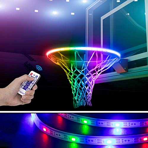 Gr8ware LED Basketball Hoop Lights - Solar Powered Glow-in-The-Dark Basketball Rim Waterproof LED Light, Super Bright Lights to Play at Night Outdoors, Ideal for Kids Adults Training Games