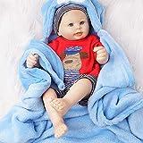 Yesteria Tutto Il Corpo in Vinile Bambola Rinato Ragazzo Bambino Nudo Reale con Coperta Blu 50 cm