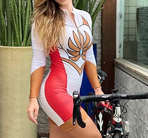 Tuta Da Gara Da Donna Per Triathlon,Tuta Intera Da Ciclismo A Maniche Corte (Color : 2, Size : Large)