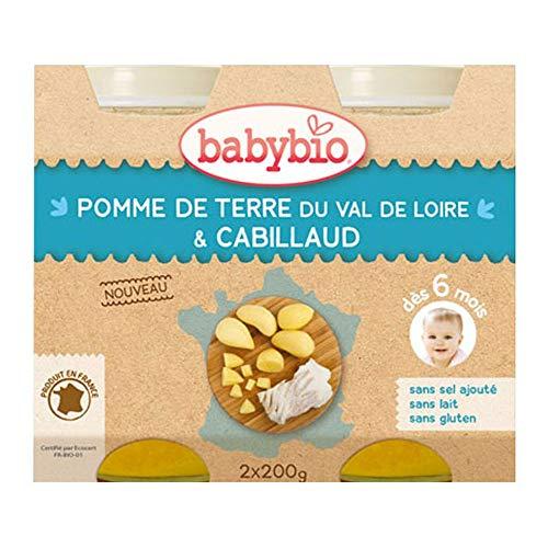 Babybio Petits Pots Menu Pomme de Terre & Cabillaud sauvage - dès 6 mois - 2x200g