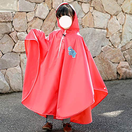 DZX Chubasquero para niños Impermeable para niñas, Chubasquero Impermeable de ala Grande para niños, Adecuado para días de Lluvia y Nieve al Aire Libre, Rojo, XL, Chaqueta Impermeable