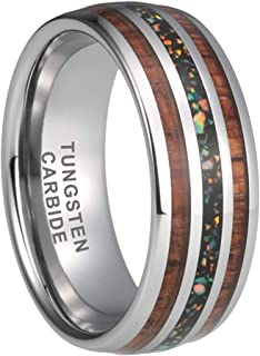 iTungsten 8mm Tungsten/Damascus Steel Rings for Men Women Wedding Bands Real Blue Opal/Galaxy Opal Stone Koa Wood Inlay Domed Polished Shiny Comfort Fit