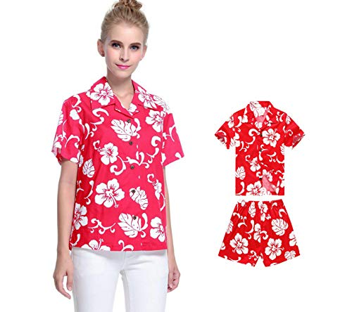 Manga Mujer Hijo Hawaiian Luau Camisa Mujer y Pantalones Cortos de Niño Hibisco Rojo 2XL-8