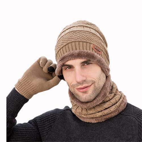 Juego de 3 gorros con guantes para calentador de cuello, bufanda, manopla de calavera, gorro de doble capa de forro polar interior holgado, color beige