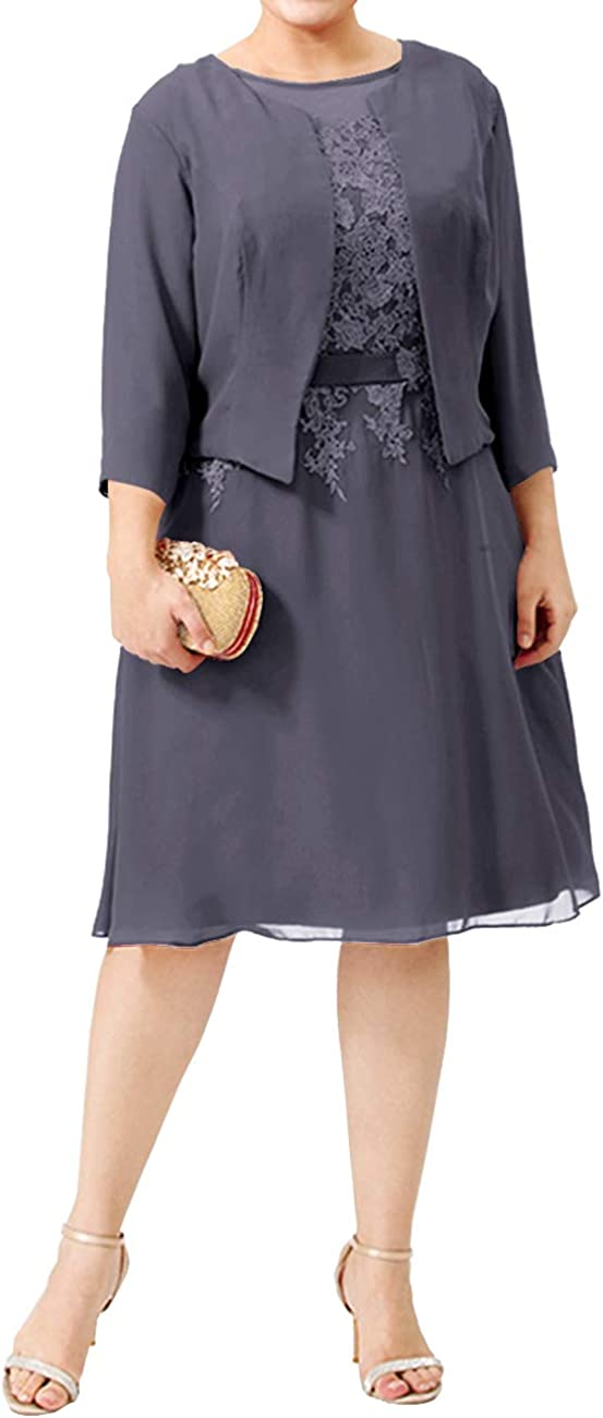 Mother of The Bride Dress Formal Gowns with Jacket Long Sleeve Short Mother Dresses Knee Length