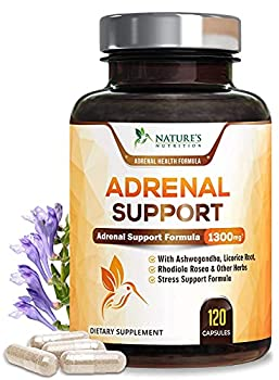 Adrenal Support and Stress Support 1300mg - Extra Strength Stress Support and Adrenal Fatigue Support Supplement - Ashwagandha Licorice Root Rhodiola Rosea and Other Herbs Non-GMO - 120 Capsules