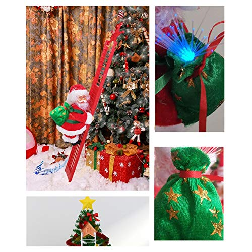 K&KP Electric Climbing Santa on Ladder with LED Lights,Plush Climbing Ladder Santa Doll Toy Christmas Tree Hanging Ornament Decoration Gift for Home Xmas New Year Party Door Wall Decor (1PC)