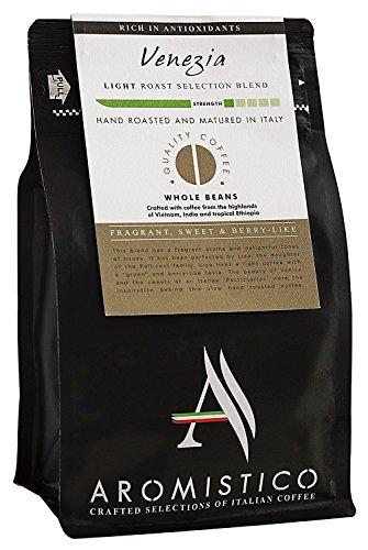 AROMISTICO | Intense Crema Light Blonde Roast | Premium Italian Whole Coffee Beans | Venezia Blend, Fragrant, Sweet & Berry-Like | Espresso, Moka Pot, Filter Cafetiere, Pour-Over Drip, Aeropress