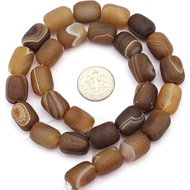 JOE FOREMAN 10x14mm Botswana Agate Semi Precious Gemstone Frosted Column Loose Beads for Jewelry Making DIY Handmade Craft Supplies 15