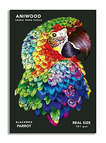 ANIWOOD Puzzle de Madera con Forma de Animal. Tapa troquelada a tamaño Real del Puzzle. Contiene Piezas únicas de Animales (Medium, Loro)
