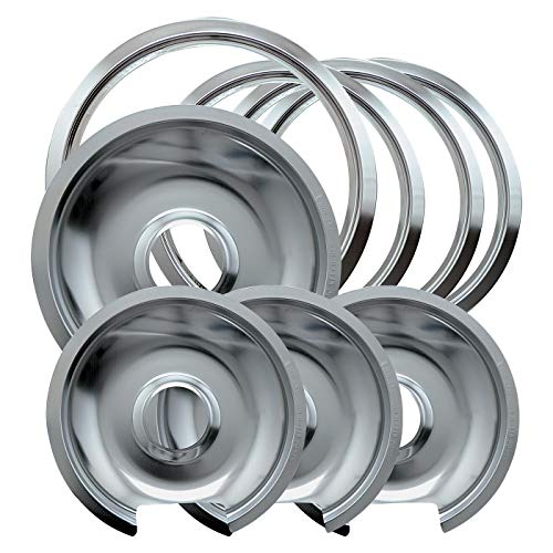 Range Kleen 1056RGE8 Style D Chrome 4 Pack Drip Pans and 4 Pack Trim Rings