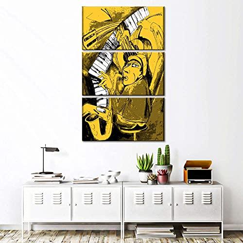 AWER 3 Piezas Modernos Mural Fotos Multi Panel Jazz Piano Player para Salon,Dormitorio,Baño,Comedor Dibujo con Marco Fotografía para Oficina Aniversario