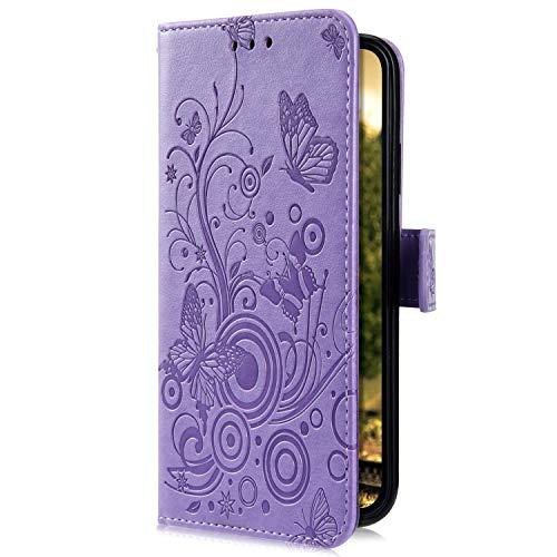 Uposao Kompatibel mit Samsung Galaxy S10e Handyhülle Hülle Flipcase Schmetterling Blumen Muster Flip Wallet Schutzhülle Bookstyle Leder Tasche Klapphülle Case Magnet Kartenfach,Lila
