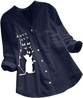 LEKODE - Camiseta informal para mujer, diseño de gato, de algodón y lino