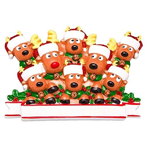Antiker Elch hängen Mini Resin Weihnachtsanhänger für Ferienhaus Anpassung Party DIY Dekoration. (2 bis 7 Familienmitglieder).