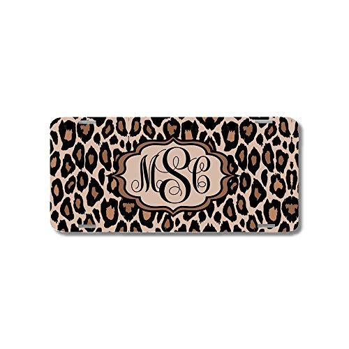 BrownInnovativeMedia Leopard Cheetah Print Monogrammed Personalized Custom Initials License Plate Car Tag