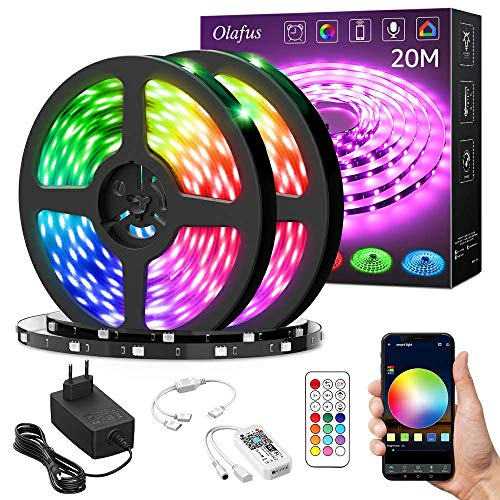 Olafus 20M Striscia LED RGB Alexa, Strisce LED Smart WiFi Controllo da APP e Vocale, 16 Milioni Colori Dance con Musica, Strip LED 600 LEDs Luminoso Funzione con Alexa e Google per Festa Arredo