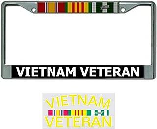 Vietnam Veteran License Plate Frame Bundle with Vietnam Veterans Decal
