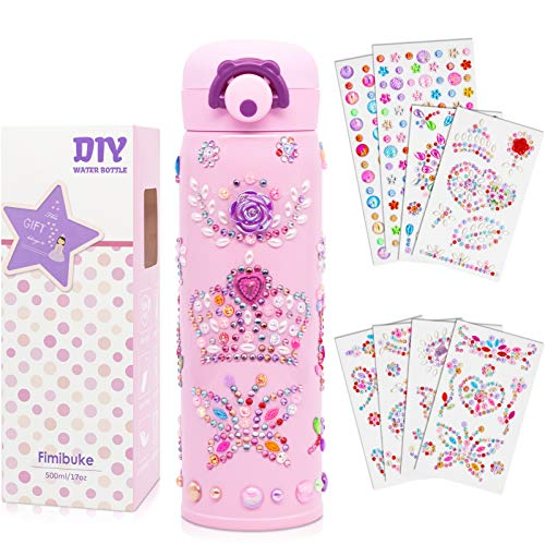 Fimibuke Kids Water Bottle - Personalize & Decorate Your Own Water Bottle with Tons of Rhinestone Gem Stickers,DIY Art & Craft Toy Kit Gift for Girls, 17 oz Vacuum Insulated Stainless Steel Travel Mug