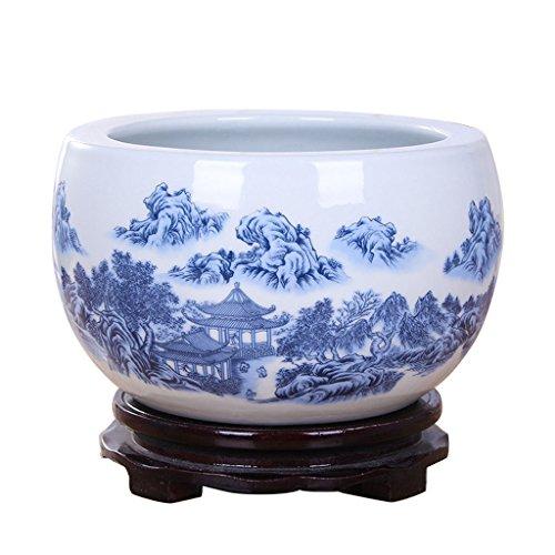 Pot de fleurs BOBE Shop en céramique de Style Chinois Aucun Plateau/Plante hydroponique Pot de Plante succulente/récipient intérieur de décoration de Table (Taille : M)