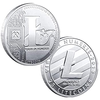 1PCS Silver Litecoin Commemorative Coin Silver Plated LITE Coin Limited Edition Collectible Coin with Protective Case