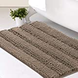 Bath Mats for Bathroom Non Slip Extra Thick Chenille Striped Bath Rug 20' x 32' Absorbent Non Skid Fluffy Soft Shaggy Rugs Washable Dry Fast Plush Mats for Indoor, Bath Room, Tub - Taupe Brown