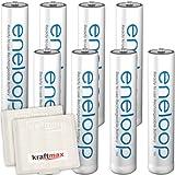 8er Pack Panasonic Eneloop AAA/Micro Akkus - Neueste Generation - Hochleistungs Akku Batterien in Kraftmax Akkuboxen V5
