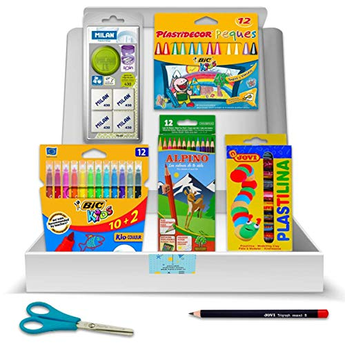 Pack Material Escolar - PS-BASICS SCHOOL (INFANTIL) - Kit de material Escolar: Ceras, Rotuladores, Lápices Colores, Gomas borrar, Plastilina. Productos Papeleria al Mejor Precio