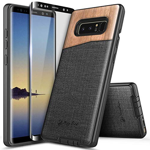 NageBee Case for Samsung Galaxy Note 8, with Screen Protector (Soft Full Coverage), Premium [Natural Wood] Canvas Fabrics Dual Layer Shockproof Hybrid Defender Rugged Durable Phone Case -Wood