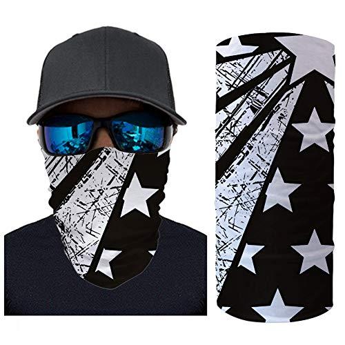 ECONG Stars Stripes Bandana Multifonction Guêtres de Cou Écharpe sans Couture Gaiter Neck Rapide Écharpe Salive Dust UV Outdoor Cycling Camping Randonnée