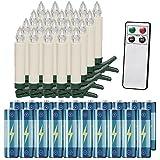 Deuba Set de 20 Velas LED inalámbricas para árbol de navidad con mando a distancia temporizador con baterías incluidas
