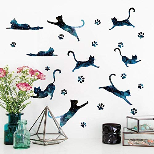 Pegatinas de pared de gato de cielo estrellado decoración de pared para habitaciones de niños póster de dormitorio para el hogar