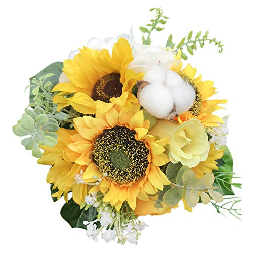 "Bride and groom Holding flowers,SUNFLOWER & FILLER BOUQUET 11"" ,Artificial Silk Flowers Fake Rose,For Wedding,Party,Valentine's Day, Pack 1 (3# SUNFLOWER)"