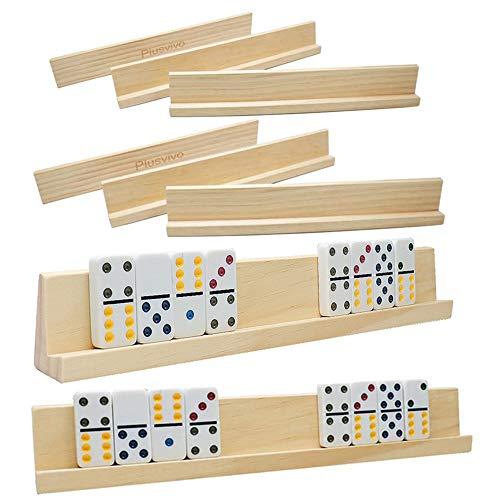 Domino Racks Set of 8 Plusvivo Wooden Domino Trays Holders for Mexican Train Chicken Food and Other Dominoes Games 1397 x 2 x 118 Inches  Dominoes NOT Included