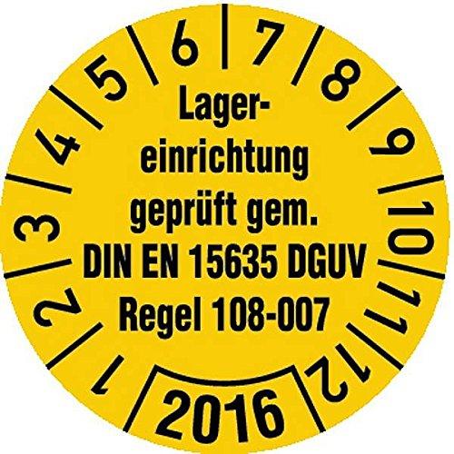 LEMAX® Prüfplakette Lagereinrichtung DGUV 108-007 gelb/schw. ab 2019 Ø30mm, 100 Stk.