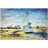 Barcos de Pesca en la Playa Reproducciones de Pinturas en Lienzo Arte Marino Impresiones en Lienzo para la decoración de la Sala de Estar 7.8x11.8in (20x30cm) x1psc SIN Marco