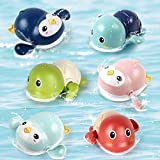 LiDi RC 6 Pack Bath Toys Wind Up Swimming Turtle and Penguin for Toddlers 1 2 3 Years Old, Multi-Colors Floating Toy Bathtub Toys Pool Beach Play Toy Set for Boys and Girls