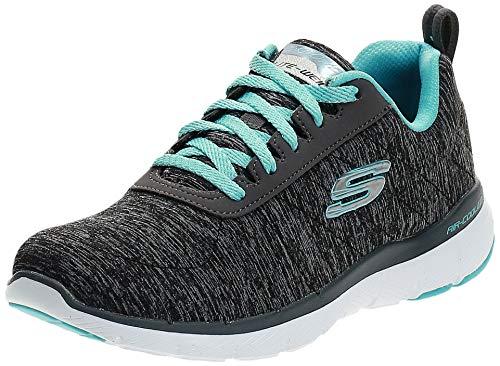Skechers Women's Flex Appeal 3.0 Sneaker, Black Light Blue, 10 M US