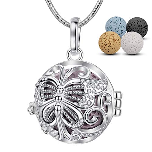 INFUSEU Butterfly Anxiety Diffuser Necklace for Women Aromatherapy Essential Oil Cubic Zirconia Charm Jewelry with Lava Stone Rock