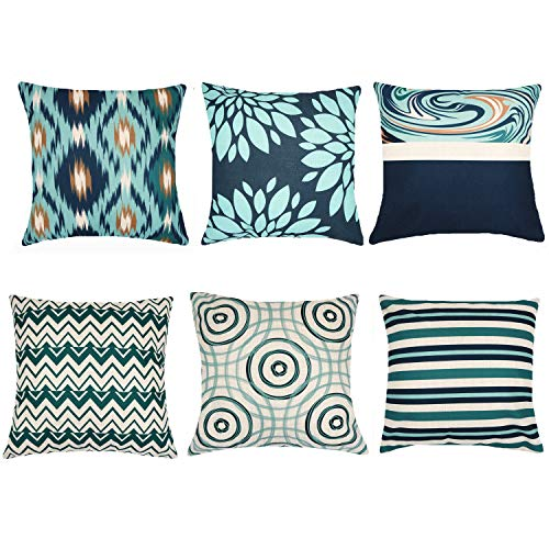 Decorative Throw Pillow Covers 16 x 16 Inch Double Side Design, ZUEXT Set of 6 Cotton Linen Indoor Outdoor Pillow Case Cushion Cover for Car Sofa Home Decor (Solid Dark Navy Teal Beige, Mix and Match)