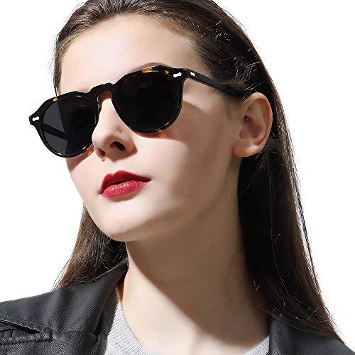 Carfia Carfia Runde Polarisierte Sonnenbrille für Damen und Herren, 100% UV Schutz Brille mit Acetat Rahmen