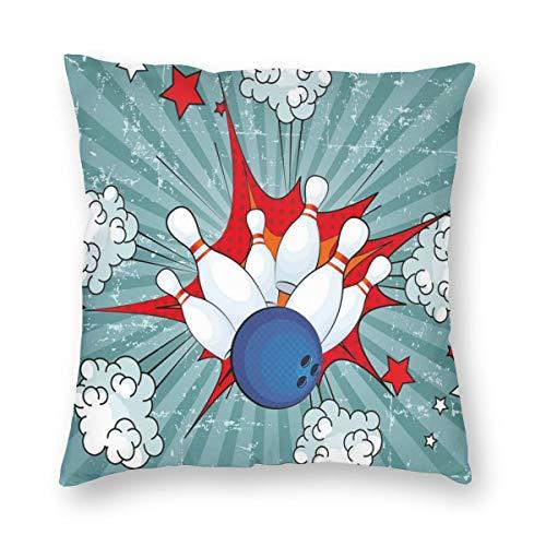 Lichenran Funda de Cojin,Retro Comic Cartoon Ball Crash Imagen Pop Art Stars Aim Party Game Design Funda de Almohada Cuadrado para Sofa Cama Decoracion para Hogar 50x50cm