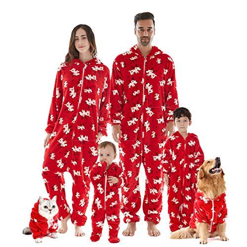 FLY HAWK Jumpsuit Familie Pyjama Set kuschelige Schlafoverall Nachtwäsche Flanell Onesie Anzug Herren Damen Pet Tier Anzug Einteiler Overall Winter Weihnachten Rot - Damen, M