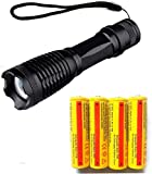 LED18650 Flashlight and 3.7V 5000mAh Rechargeable Battery(4PCS)- High Lumen, Zoomable, 5 Modes, Water