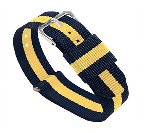 22mm Navy/Lemon Standard Length - BARTON Watch Bands - Ballistic Nylon Military Style Straps