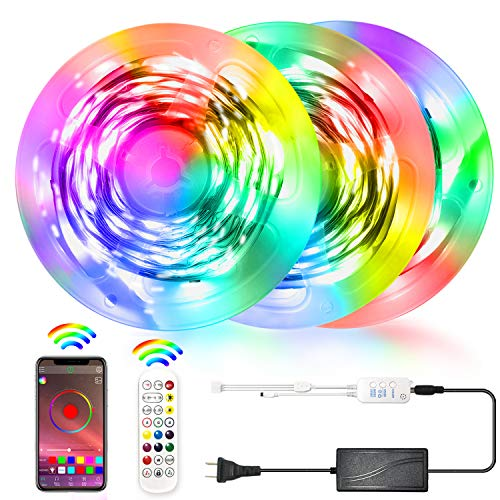 Led Strip Lights, Bliifuu 50ft 15m Tape Lights with Bluetooth APP and 24-Key Remote Color Changing Led Light Strips for Home Kitchen Bedroom Under Cabinet Party