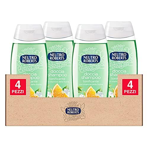 4x Neutro Roberts Doccia Shampoo Tonificante con Agrumi e Vitamine della Frutta PH Fisiologico e Senza Sapone - 4 Flaconi da 250ml ognuno