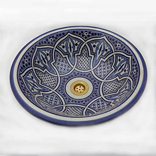 Orientalische Keramik-Waschbecken Fes49 Ø 35 cm rund blau-weiß Marokkanische Aufsatzwaschbecken handbemalt Handwaschbecken für Küche Badezimmer Gäste-Bad Kunsthandwerk aus Marokko
