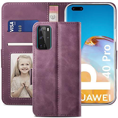 YATWIN Handyhülle Huawei P40 Pro Hülle, Klapphülle Huawei P40 Pro Premium Leder Brieftasche Schutzhülle [Kartenfach][Magnet][Stand] Handytasche für Huawei P40 Pro Hülle, Weinrot